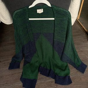 Green and blue cardigan
